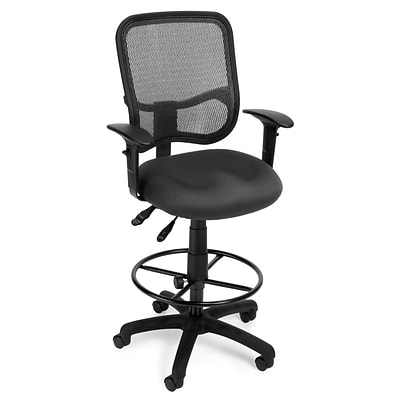 OFM Mesh Comfort Series Fabric Ergonomic Task Arm Stool, Gray (130-AA3-DK-A01)