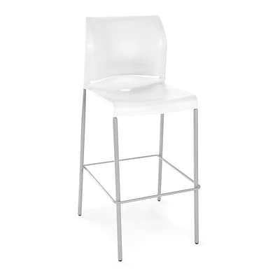 OFM Plastic Cafe Height Stack Chair, White, 2/Pack