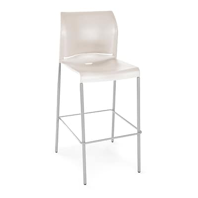 OFM Plastic Cafe Height Stack Chair, Antique White, 2/Pack