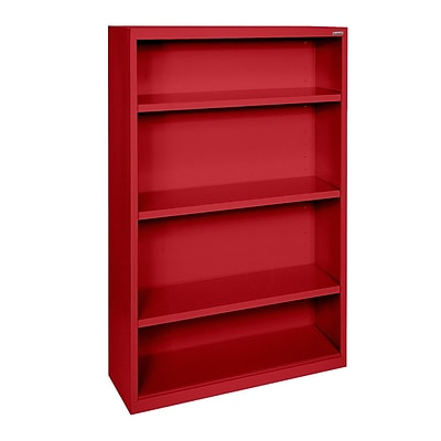 Sandusky® Elite 52H x 34W x 12D Steel Fully Adjustable Bookcase, Red