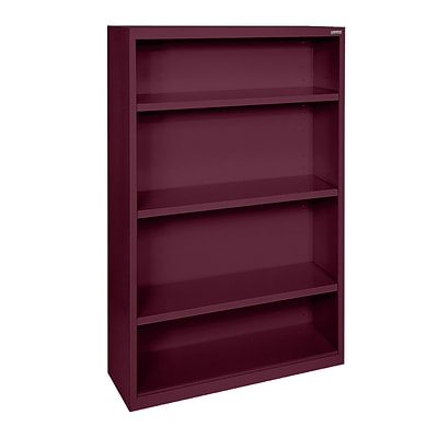 Sandusky® Elite 52H x 36W x 18D Steel Fully Adjustable Bookcase, Burgundy