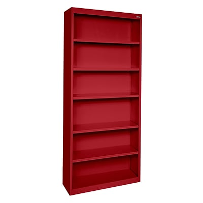 Sandusky® Elite 82H x 34W x 12D Steel Fully Adjustable Bookcase, Red