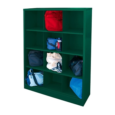Sandusky® 66H x 46W x 18D Steel Cubby Storage Organizer, 12 Compartment, Forest Green