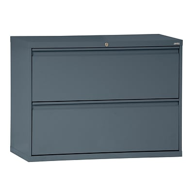 Sandusky® 800 Series 28 3/8H x 42W x 19 1/4D Steel Full Pull Lateral File, 2 Drawer, Charcoal
