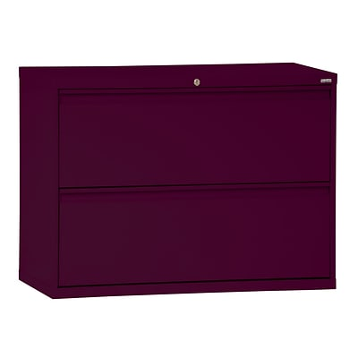 Sandusky® 800 Series 28 3/8H x 30W x 19 1/4D Steel Full Pull Lateral File, 2 Drawer, Burgundy