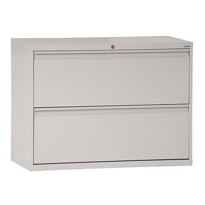 Sandusky® 800 Series 28 3/8H x 36W x 19 1/4D Steel Full Pull Lateral File, 2 Drawer, Dove Gray