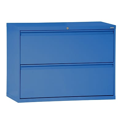 Sandusky® 800 Series 28 3/8H x 42W x 19 1/4D Steel Full Pull Lateral File, 2 Drawer, Blue
