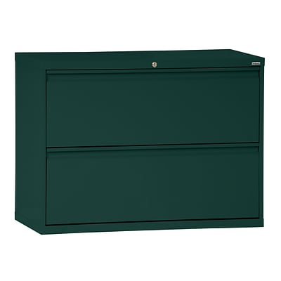 Sandusky® 800 Series 28 3/8H x 36W x 19 1/4D Steel Full Pull Lateral File, 2 Drawer, Forest Green