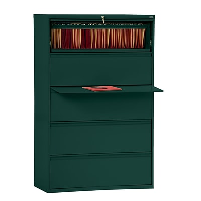 Sandusky® 800 Series 66 3/8H x 42W x 19 1/4D Steel Full Pull Lateral File, 5 Drawer, Forest Green