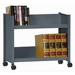 Sandusky® 25H x 29W x 14D Steel Single Sided Sloped Book Truck, 2 Shelf, Charcoal