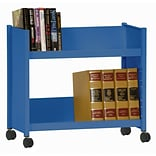 Sandusky® 25H x 29W x 14D Steel Single Sided Sloped Book Truck, 2 Shelf, Blue