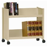 Sandusky® 25H x 29W x 14D Steel Single Sided Sloped Book Truck, 2 Shelf, Putty