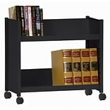 Sandusky® 25H x 29W x 14D Steel Single Sided Sloped Book Truck, 2 Shelf, Black