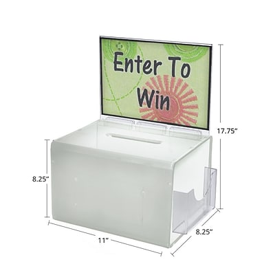 Azar® Extra Large White Suggestion Box With Pocket, Lock and Keys, 8 1/4(H) x 11(W) x 8 1/4(D)
