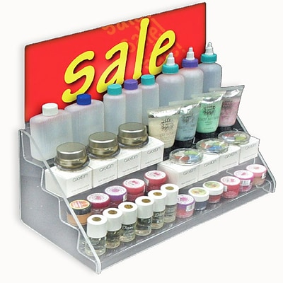Azar® 8(H) x 16(W) x 8(D) 4-Tier Counter Step Display, Clear