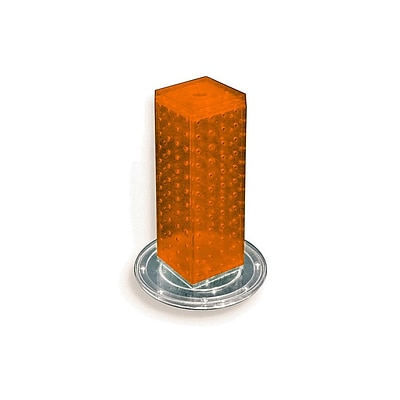 Azar® 12(H) x 4(W) x 4(D) 4-Sided Revolving Pegboard Counter Display, Orange