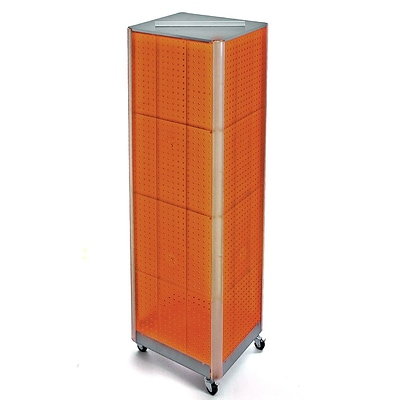 Azar® 60(H) x 16(W) 4-Sided Pegboard Floor Display With Wheels, Orange