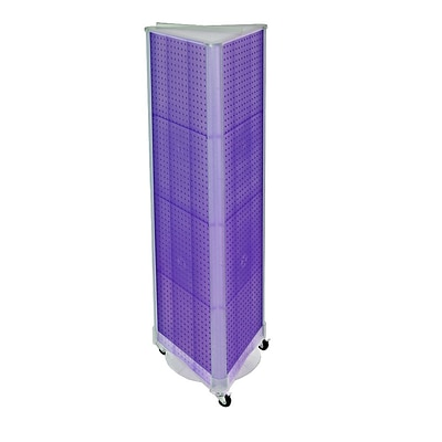 Azar® 60(H) x 16(W) 3-Sided Pegboard Floor Display With Wheels, Purple