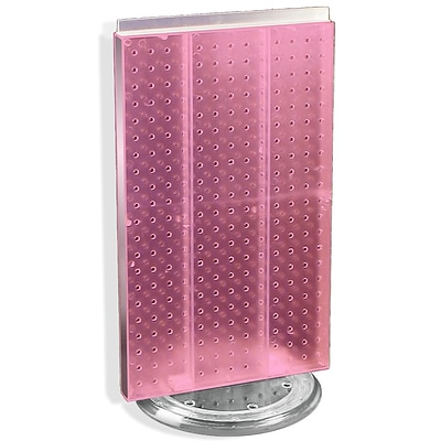 Azar® 22(H) x 13 1/2(W) 2-Sided Pegboard Counter Unit, Pink Translucent