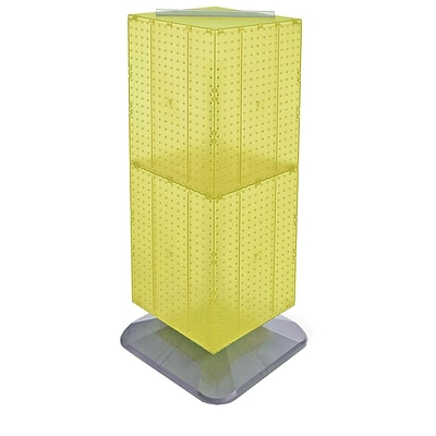 Azar® 40(H) x 14(W) x 14(D) Weighted 4-Sided Interlocking Pegboard Floor Display, Yellow