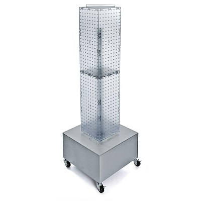 Azar® 40(H) x 8(W) x 8(D) 4-Sided Interlocking Pegboard Display Tower With Wheels, Clear
