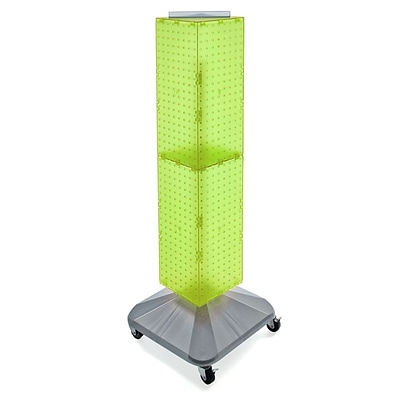 Azar® 40(H) x 8(W) x 8(D) 4-Sided Interlocking Pegboard Display Tower With Square Base, Green