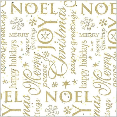 Shamrock 20 x 30 Noel Printed Tissue Paper; White/Gold/Assorted, 200/Pack