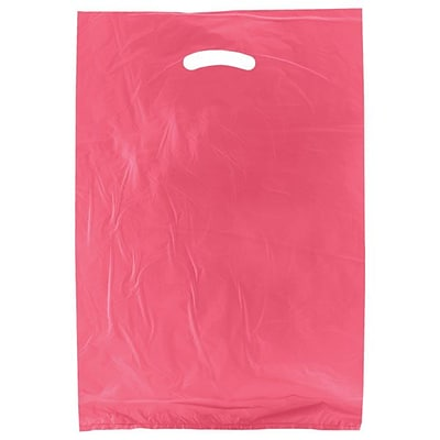 Shamrock 13 x 3 x 21 High Density Die-Cut Handle Merchandise Bags; Magenta Pink, 500/Carton