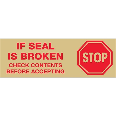 Tape Logic™ 2 Pre Printed Stop If Seal Is Broken Carton Sealing Tape, Red On Tan, 18/Pack