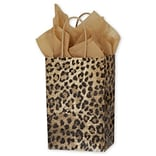 Bags & Bows® 5 1/4 x 3 1/2 x 8 1/4 Leopard Printed Shoppers, Yellow/Brown/Black, 100/Pack