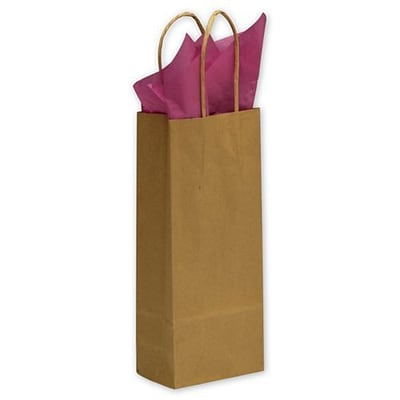 Bags & Bows® 5 1/4 x 3 1/2 x 13 Wine Paper Shoppers, 250/Pack
