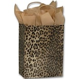 8-1/4W x 4-3/4D x 10-1/2H Leopard Printed Shoppers, Yellow/Brown/Black