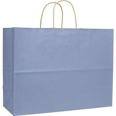 16 x 6 x 12 1/2 Varnish Stripe Shoppers, French Blue (15-160613-33)
