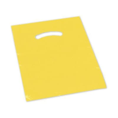 Plastic 15H x 12W Die-Cut Handle Shopping Bags, Yellow, 1000/Pack (248-1215-4)
