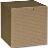 Bags & Bows® 4 x 4 x 4 One-Piece Gift Boxes, Kraft, 100/Pack