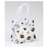 Bags & Bows® 6 1/2 x 3 1/2 x 6 1/2 Paws Frosted Shoppers, Black on White, 100/Pack