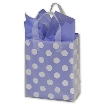 Bags & Bows® 8 x 4 x 10 Dots Resale Frosted Gift Bags, White on Clear, 24/Pack