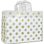 Bags & Bows® 16 x 6 x 12 Dots Frosted Flex Loop Shoppers, 100/Pack