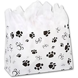 Bags & Bows® 16 x 6 x 12 Paws Frosted Shoppers, Black on White, 100/Pack