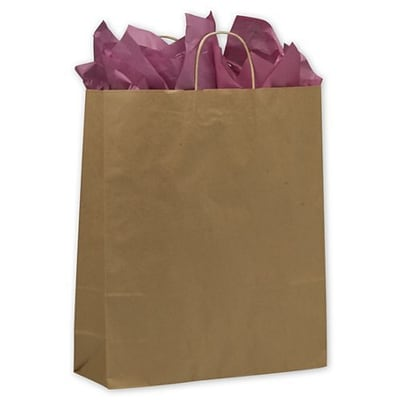 Bags & Bows® 16 x 6 x 19 Paper Queen Shoppers, Kraft, 200/Pack