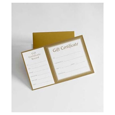 Bags & Bows® 8 x 5 Square Gift Certificates With Folder, 100/Pack (503-GOLD)
