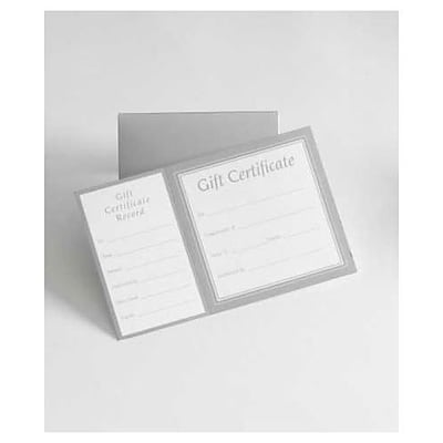 Bags & Bows® 8 x 5 Square Gift Certificates With Folder, 100/Pack (503-SILV)