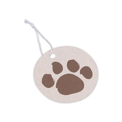 Bags & Bows® Brown Paws on Circle Oatmeal Gift Tag, 2 1/2, 100/Pack