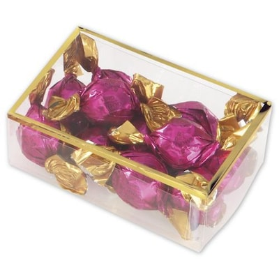 """Bags & Bows(r) 4 1/2"""" X 3"""" X 1 3/8"""" 2 Piece Gold Trimmed Boxes, Clear, 25/pack"""