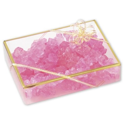 """Bags & Bows(r) 6"""" X 4 1/2"""" X 1 3/8"""" 2 Piece Gold Trimmed Boxes, Clear, 25/pack"""