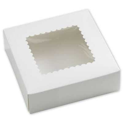Bags & Bows® 8 x 8 x 2 1/2 One-Piece Windowed Bakery Boxes, White, 250/Pack