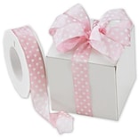 1 x 22 yds. Polka Dots Wired Ribbon, White on Pink (WPD-74)