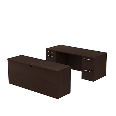 Bush Business 300 Series 72W x 30D Double Pedestal Desk with 72W Credenza, Mocha Cherry, Installed