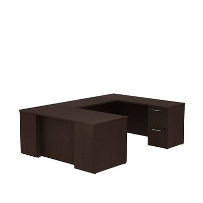 Bush Business 300 Series 66W x 30D Desk in U-Configuration w/ 2 and 3 Drawer Pedestals, Mocha Cherry