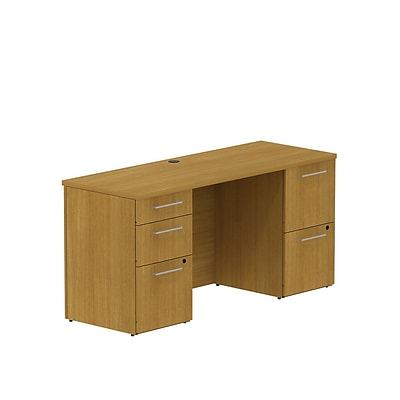 Bush Business 300 Series 60W x 22D Double Pedestal Desk, Modern Cherry, Installed